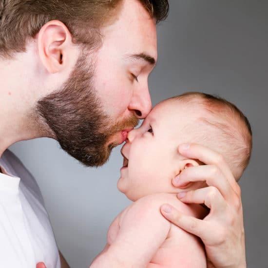 lieve baby foto met papa
