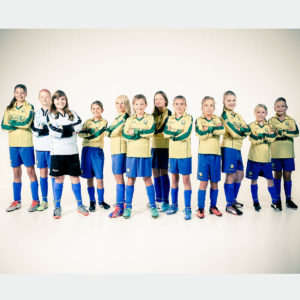 voetbal elftal in fotostudio fotoshoot