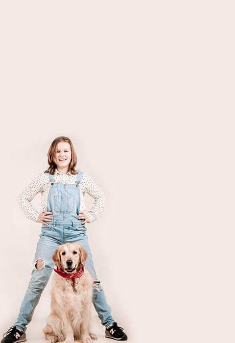 fotoshoot samen met hond